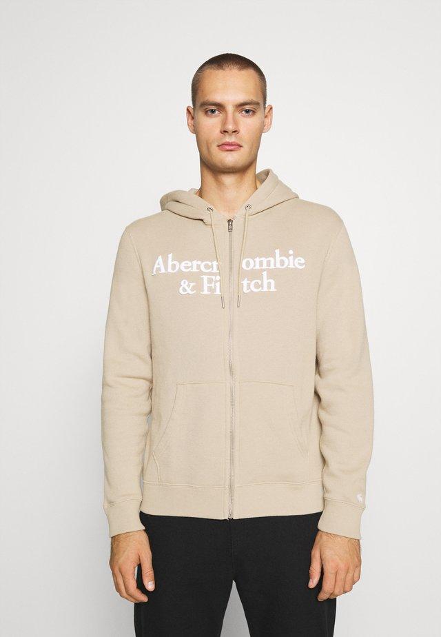 TONAL TECH LOGO - Zip-up hoodie - tan