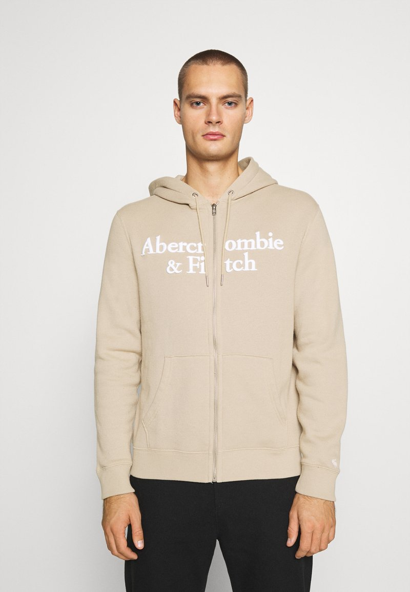 Abercrombie & Fitch - TONAL TECH LOGO - Zip-up hoodie - tan
