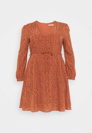 LONGSLEEVE TEA DRESS - Day dress - rust/black