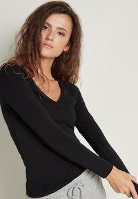 Tezenis - MIT V-AUSSCHNITT AUS STRETCH-BAUMWOLLE - Long sleeved top - nero - 2
