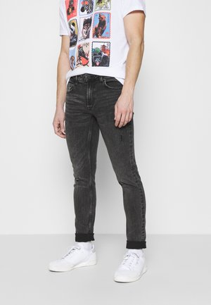 ONSLOOM SLIM BLACK DAMAGE WASH - Jeansy Slim Fit - black denim
