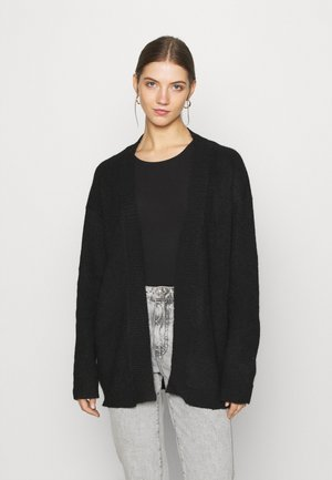 BASIC- OPEN SPONGY CARDIGAN - Cardigan - black