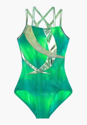 GIRLS' GYMNASTICS DOUBLE STRAP LEOTARD - Danspakje - green/multi