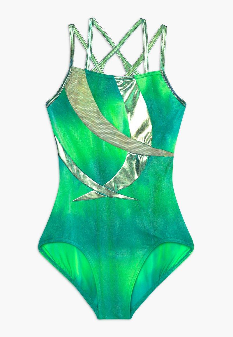Capezio - GIRLS' GYMNASTICS DOUBLE STRAP LEOTARD - Danspakje - green/multi