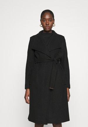 FUNNEL COLLAR GLOSSY COAT - Zimní kabát - black