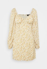 Missguided - FLORAL BUTTON THROUGH SWING DRESS - Kjole - cream - 4