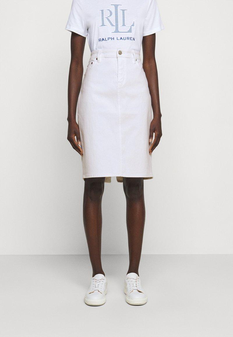Lauren Ralph Lauren - BULL SKIRT - Jupe en jean - white wash