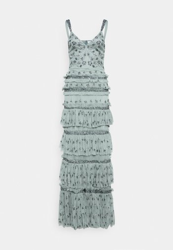 ALL OVER EMBELLISHED MAXI WITH TIERS - Ballkjole - grey