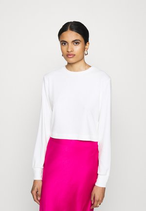 ANDREA CROPPED TOP - Long sleeved top - cloud dancer