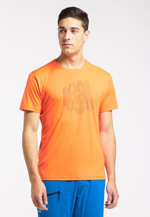 Print T-shirt - flame orange