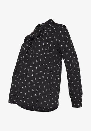 BOW LONGSLEEVE - Blusa - black/white