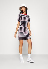 Tommy Jeans - STRIPED TEE DRESS - Jersey dress - twilight navy/white - 1