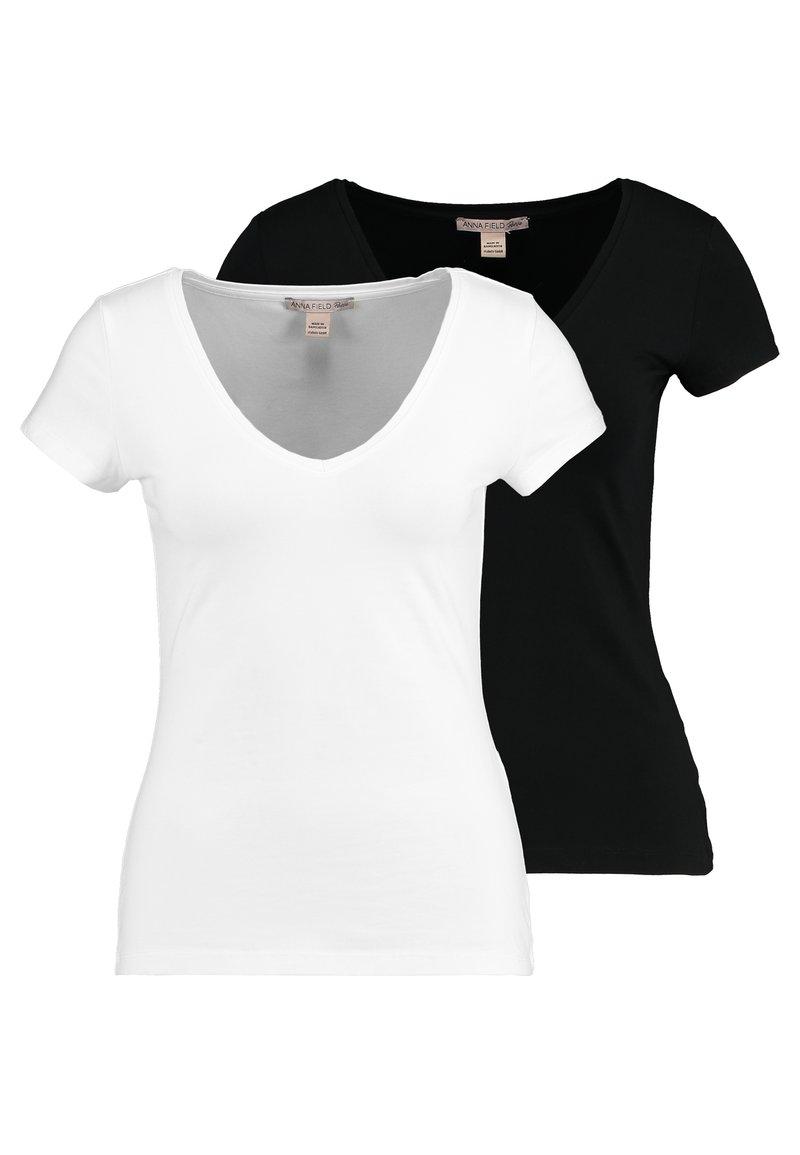 Anna Field Petite - 2 PACK - Basic T-shirt - black/white