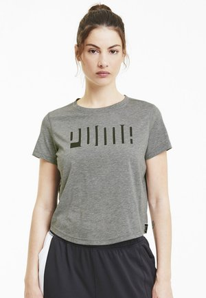 TRAIN LOGO TAPE TEE - Print T-shirt - medium gray heather