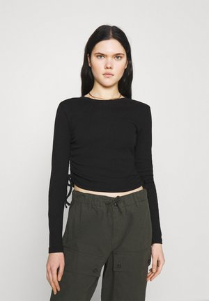 RUCHED  - Long sleeved top - black