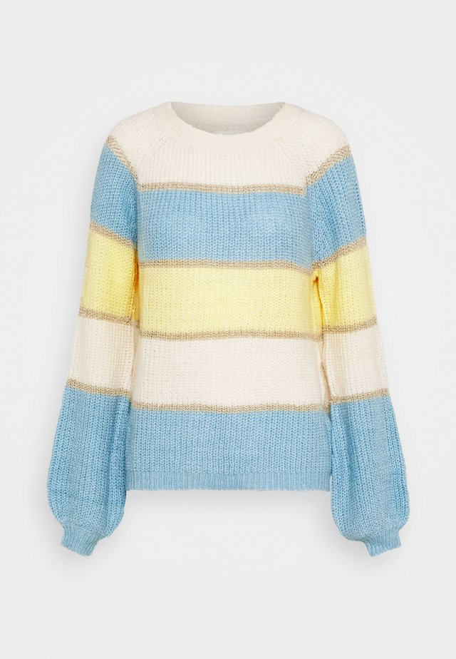 BLOCK COLOR  - Maglione - yellow/white/bleu