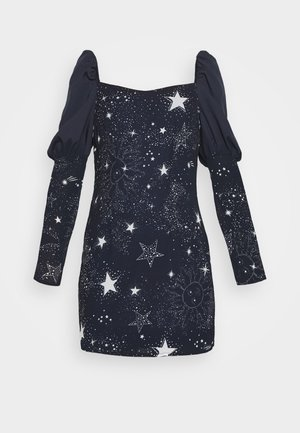 ASTRO PUFF SLEEVE MINI DRESS - Vestido de cóctel - navy