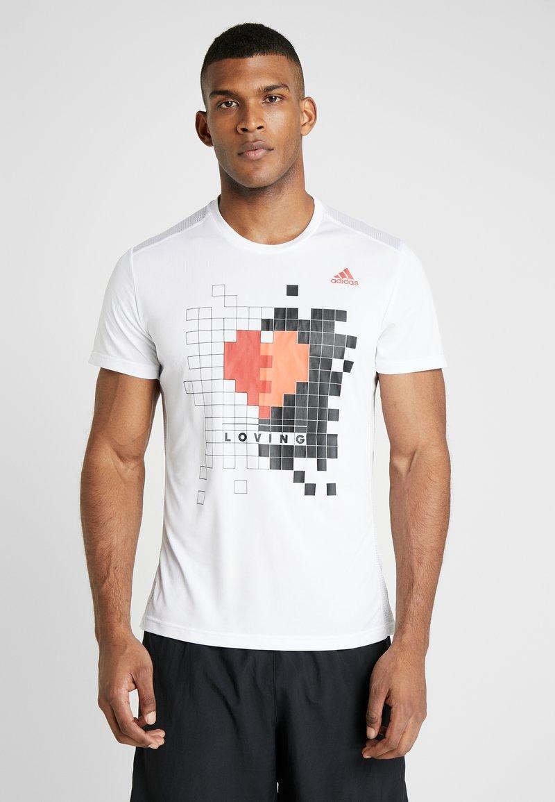 adidas Performance - OWN THE RUN TEE - Print T-shirt - white