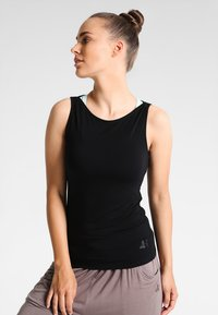 Curare Yogawear - TANK BOAT NECK - Top - black - 0