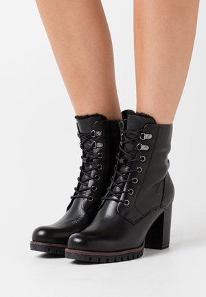 Lace-up ankle boots - black antic