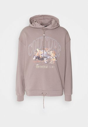 OVERSIZED FIT HOOD WITH FLAMING CAR GRAPHIC - Sweater - washed taupe