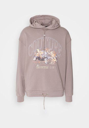 OVERSIZED FIT HOOD IN WASHED TAUPE WITH FLAMING CAR GRAPHIC ON B - Sweat à capuche - washed taupe
