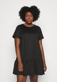 Simply Be - PONTE TSHIRT DRESS - Day dress - black - 0