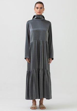 TASSEL DETAILED SHINY SHIRRED - Maxi dress - dark grey