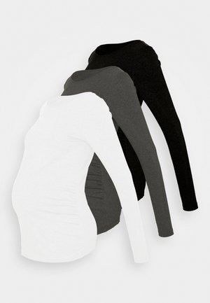 3 PACK - T-shirt à manches longues - black/dark grey/white