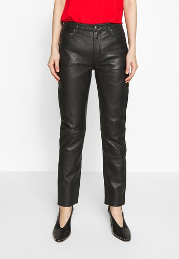 SALLY - Leather trousers - black