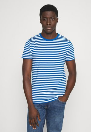 SLIM FIT TEE - T-shirt med print - blue