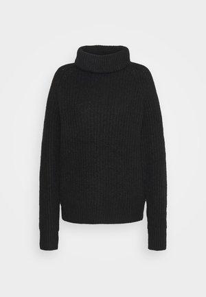 Roll neck- ribbed - Sweter - black