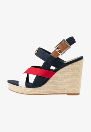 ELENA - Sandali con tacco - red/white/blue