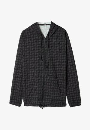 Zip-up sweatshirt - schwarz black/grey houndstooth print