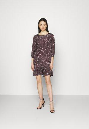 CREW NECK TIERED MINI DRESS - Day dress - taupe