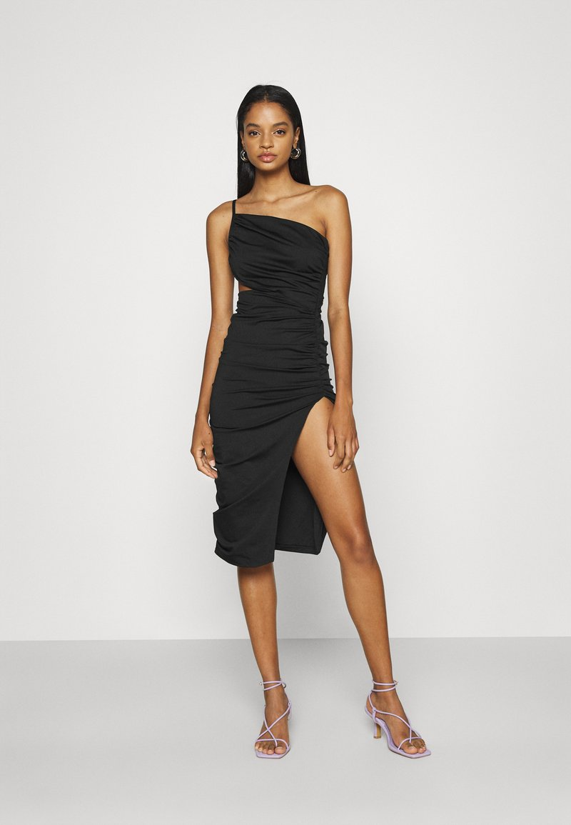 Missguided - ONE SHOULDER RUCHED CUT OUT MIDI DRESS - Cocktail dress / Party dress - black