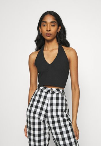 MAYA HALTER NECK CROP WITH OPEN BACK AND LOW V NECK 2 PACK - Top - black/white