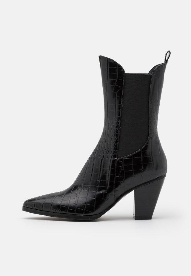ELASTIC DETAIL BOOTS - Cowboystøvletter - black