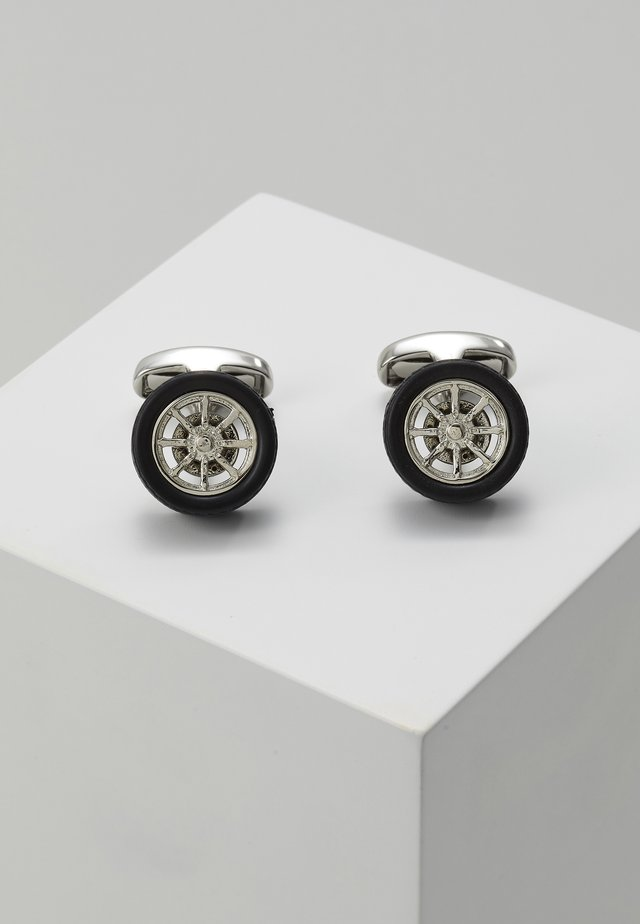 MEN CUFFLINK WHEEL - Spinka do mankietów - silver-coloured/black