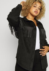 Simply Be - LONGLINE FRINGE SHACKET - Faux leather jacket - black - 4