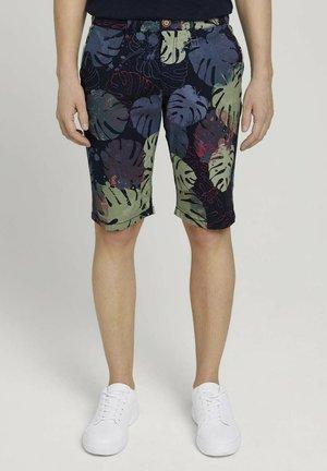 Shorts - dark blue paint leaf design