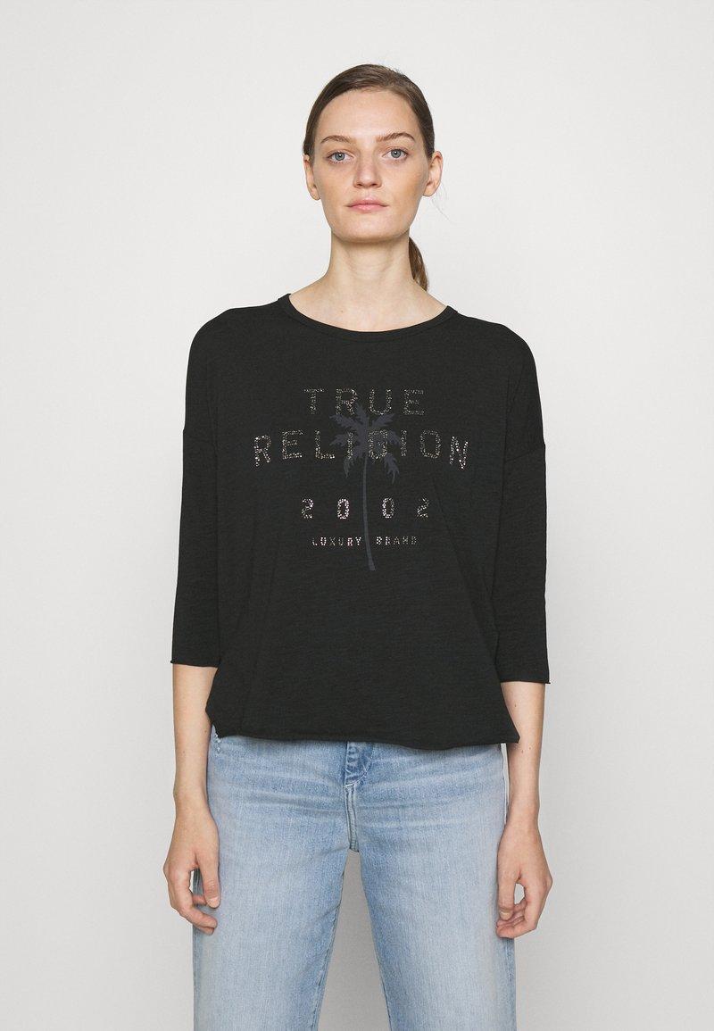 True Religion - BOXY CREW NECK  PALM TREE BLACK - Top sdlouhým rukávem - black
