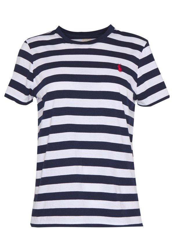 Polo Ralph Lauren TEE SHORT SLEEVE - T-shirt z nadrukiem - dark blue/white W paski Odzież Damska SGHE PT 7