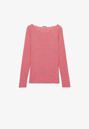 MIT U-BOOT-AUSSCHNITT - Long sleeved top - red lipstick/bianco
