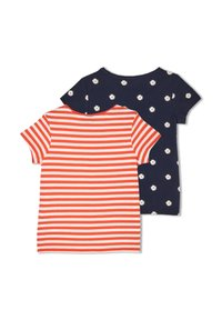 s.Oliver - 2 PACK - Print T-shirt - red stripes navy daisies - 1