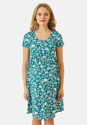 Jersey dress - grün weiße blumen