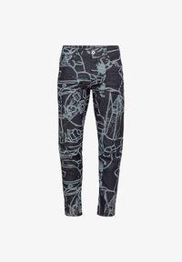 SCUTAR 3D SLIM TAPERED - Slim fit jeans - raw denim charcoal line art splatter