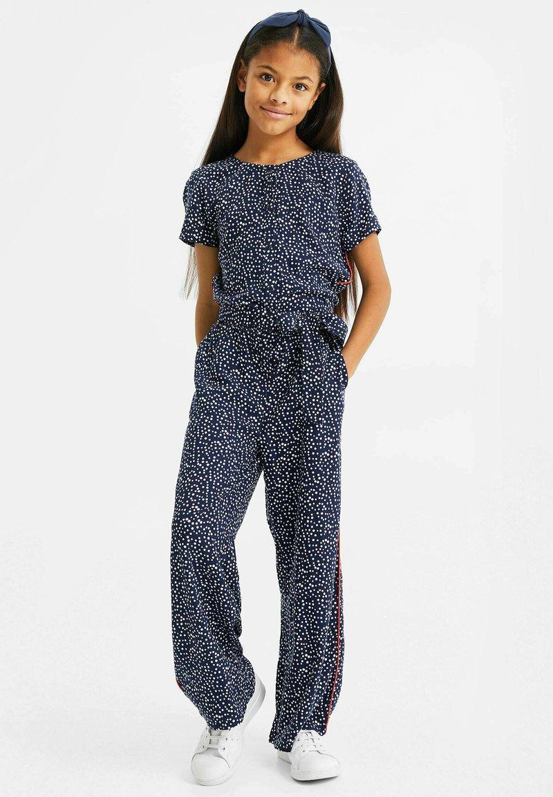 WE Fashion - MET STIPPENDESSIN - Jumpsuit - dark blue