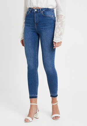 HIGH WAIST OPEN HEM - Skinny džíny - mid blue