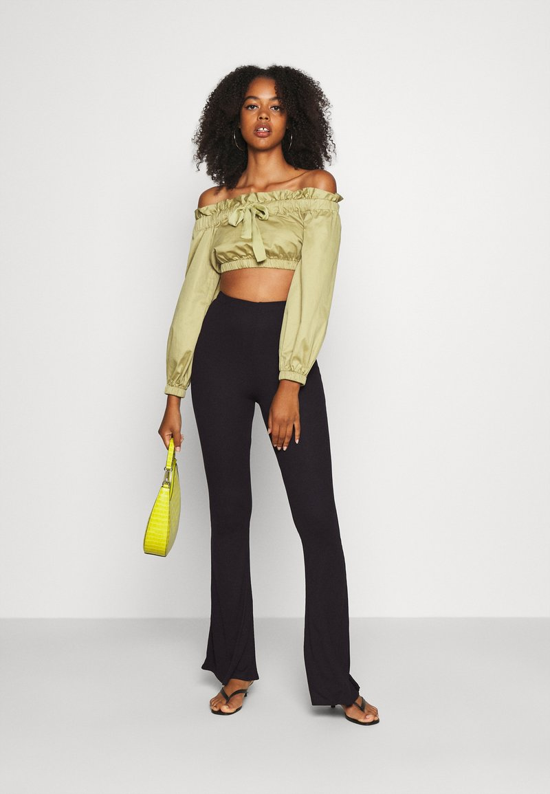 Missguided - 2 PACK FLARE  - Trousers - black/grey